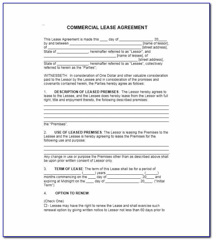 Commercial Property Lease Agreement Free Template Australia