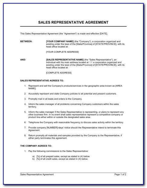 Company Representative Agreement Template