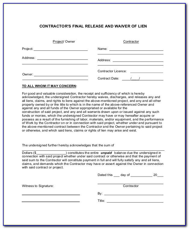 Conditional Lien Waiver Template Word