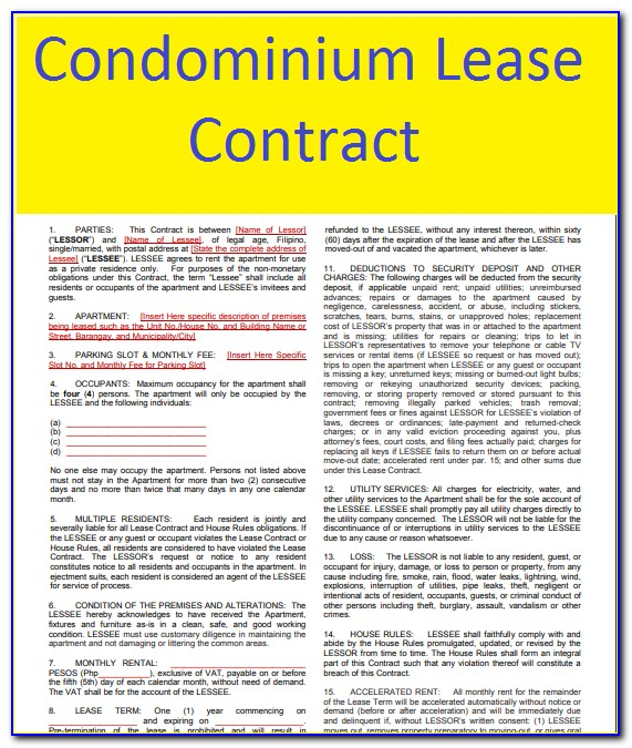 Condo Lease Contract Sample Philippines