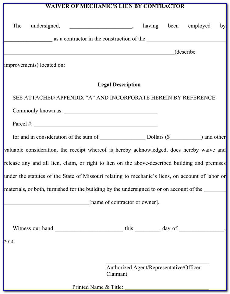 Construction Lien Waiver Form Missouri
