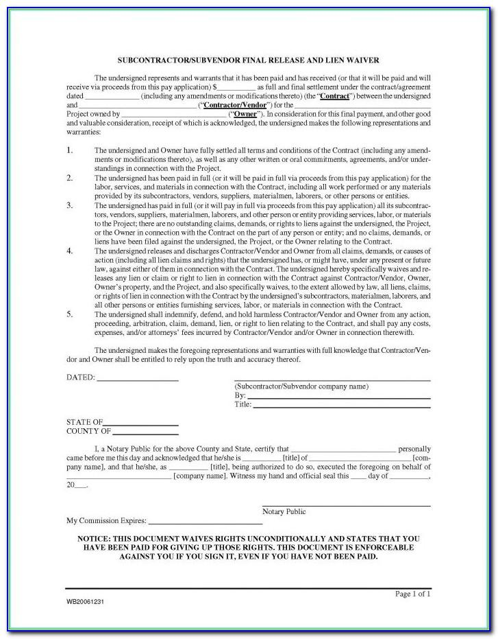 Contractor Lien Waiver Form Illinois