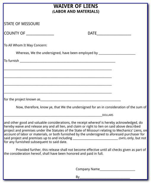 Contractor Lien Waiver Form Missouri
