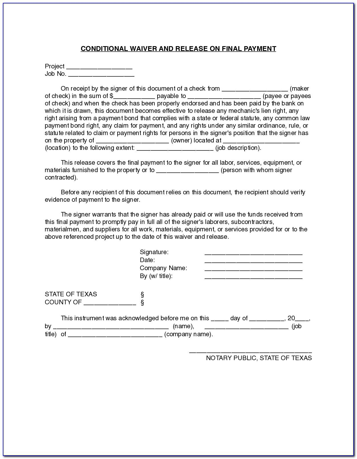 Contractor Lien Waiver Form Texas