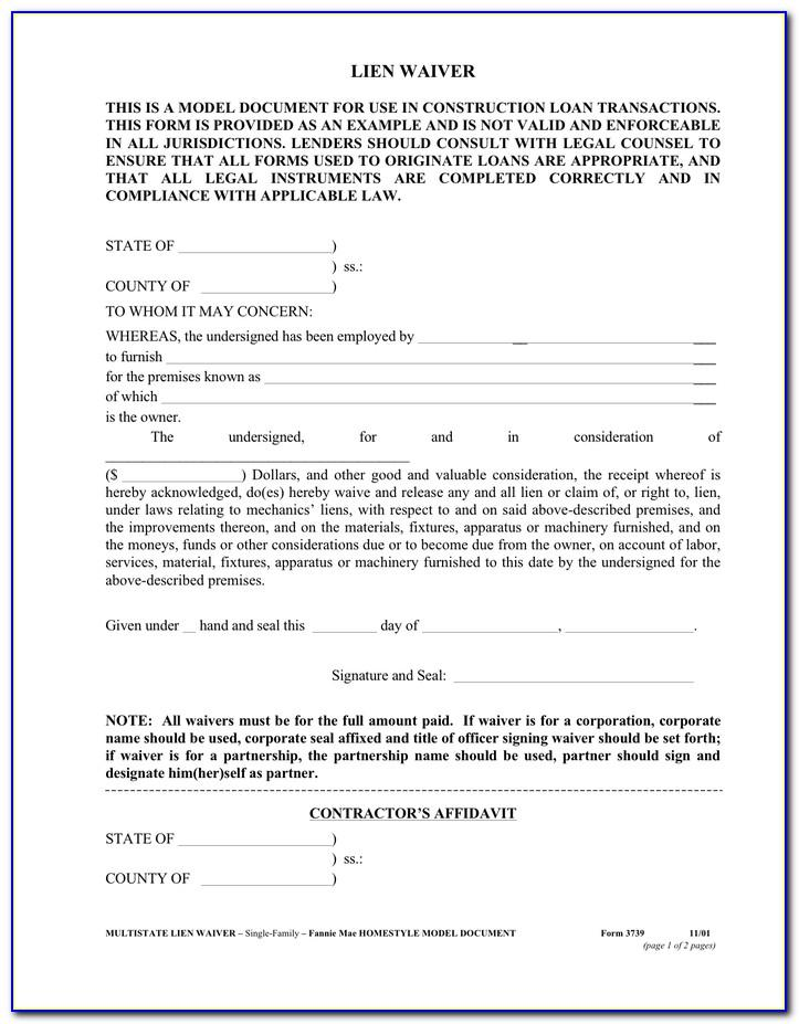 Contractor Lien Waiver Form Wisconsin