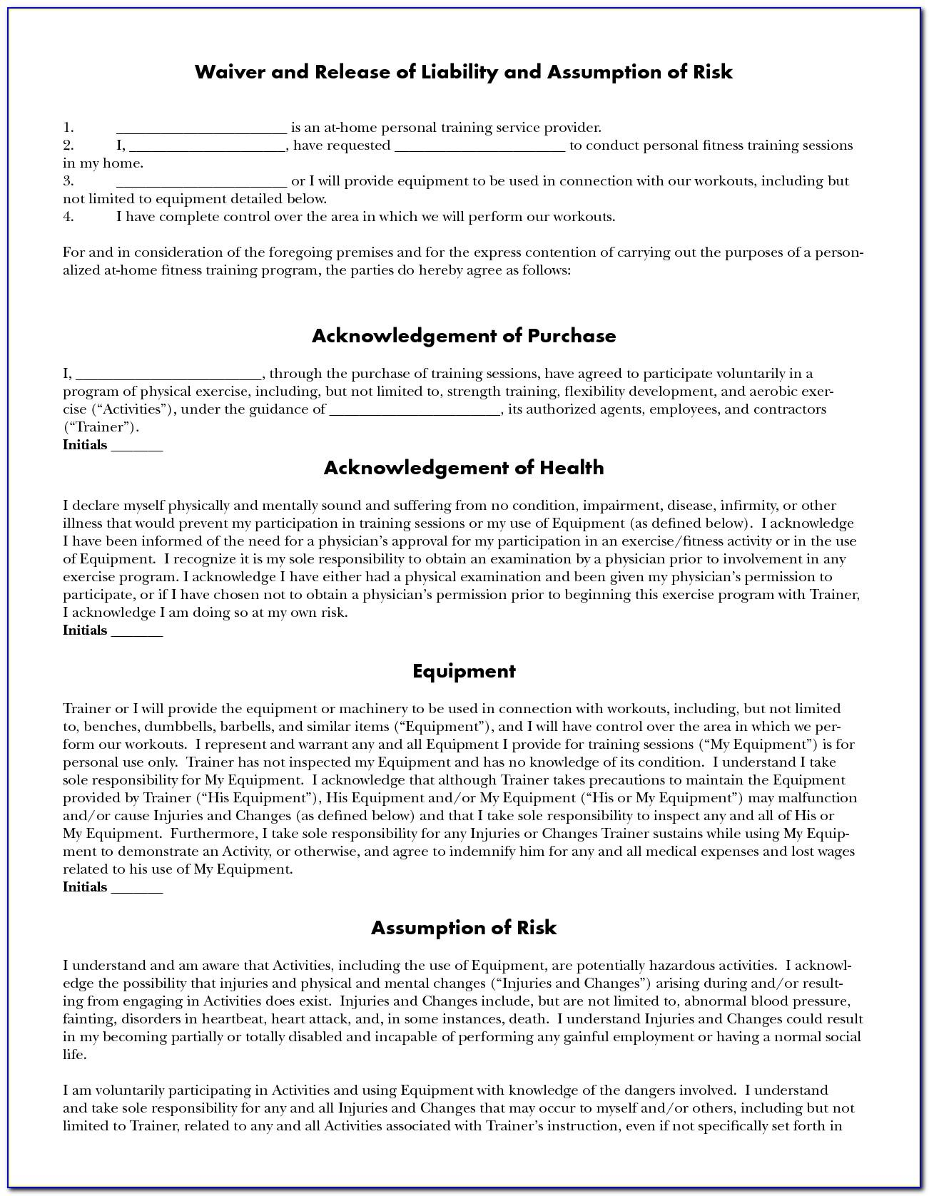 Daycare Liability Waiver Template Free