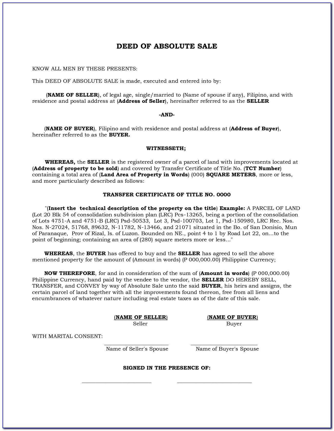 Deed Of Absolute Sale Land Template