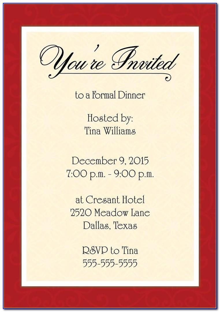 Dinner Invitation Sample Wording