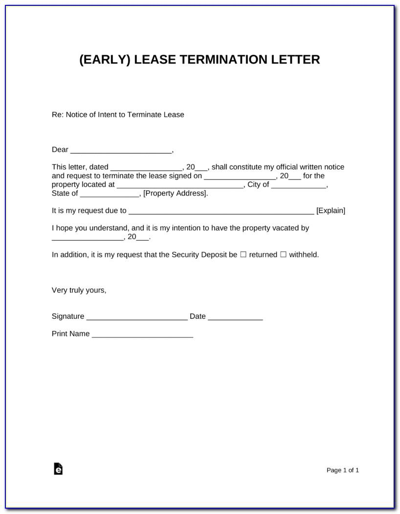 Early Lease Termination Agreement Letter