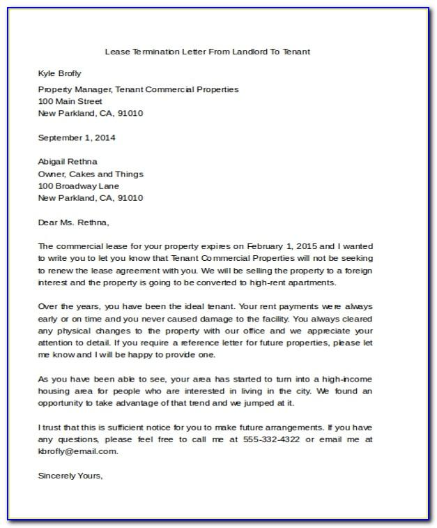 Early Lease Termination Letter From Landlord To Tenant Sample