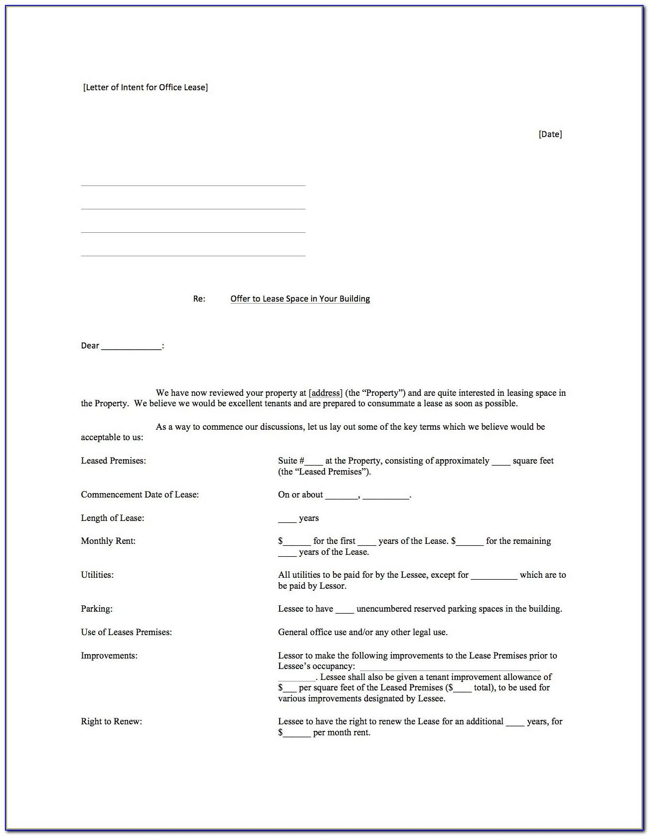 Example Of Letter Of Intent To Lease A Space In A Mall