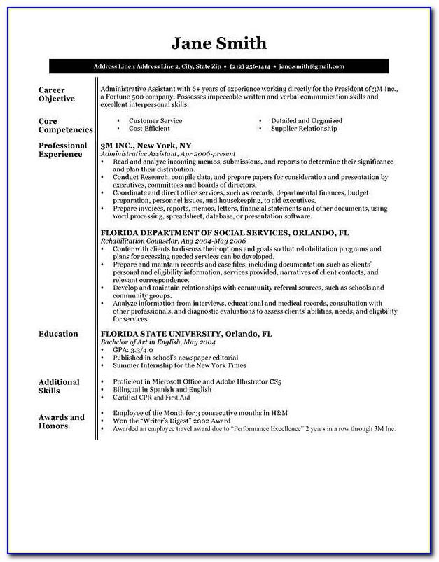 Executive Resume Template Word Free