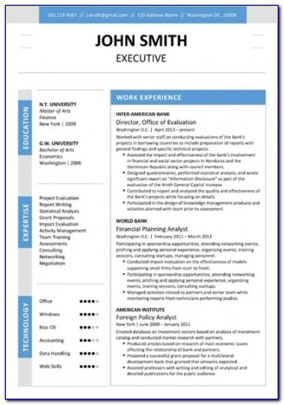 Executive Resume Templates Free Download