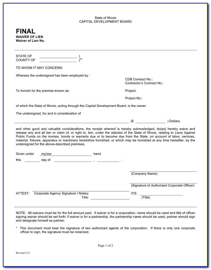 Final Lien Waiver Form Illinois