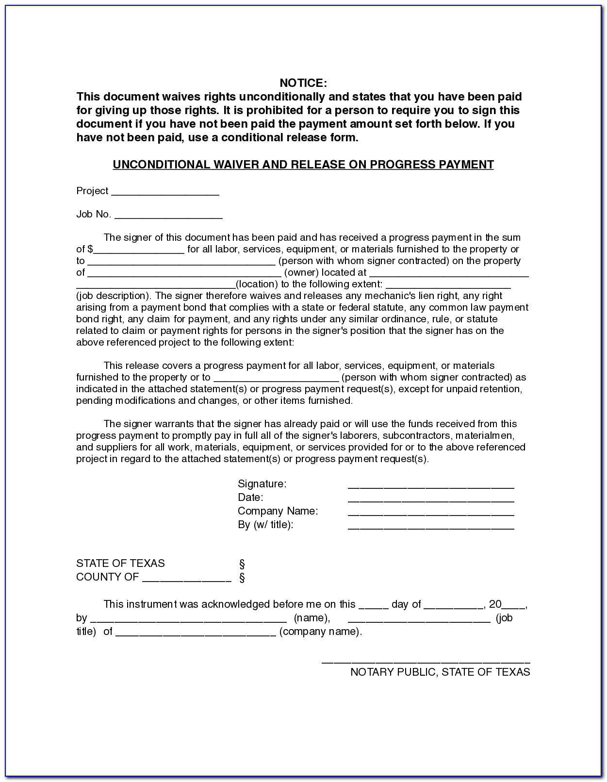 Final Lien Waiver Form Texas