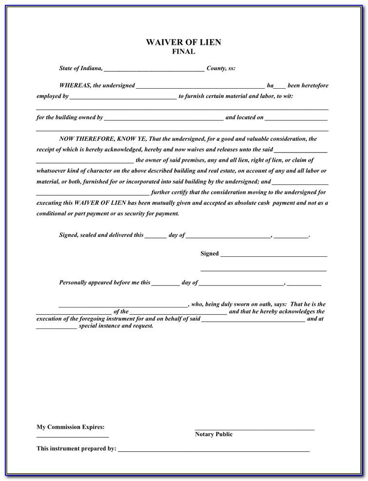 Final Waiver Of Lien Word Document