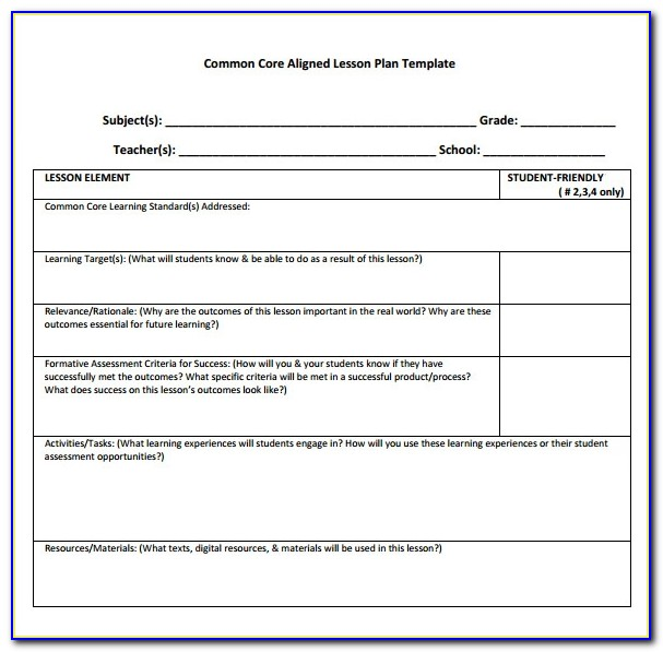 First Grade Lesson Plan Template Common Core