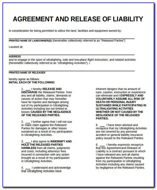 Fitness Liability Waiver Form Template