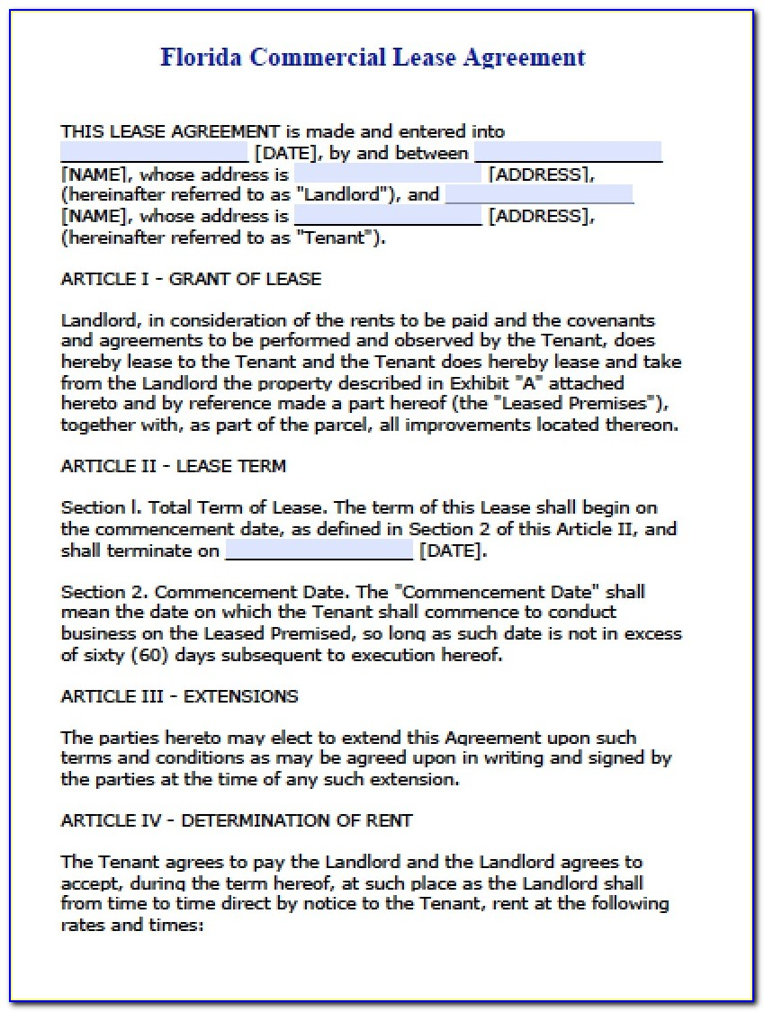 Florida Commercial Lease Agreement Form Pdf