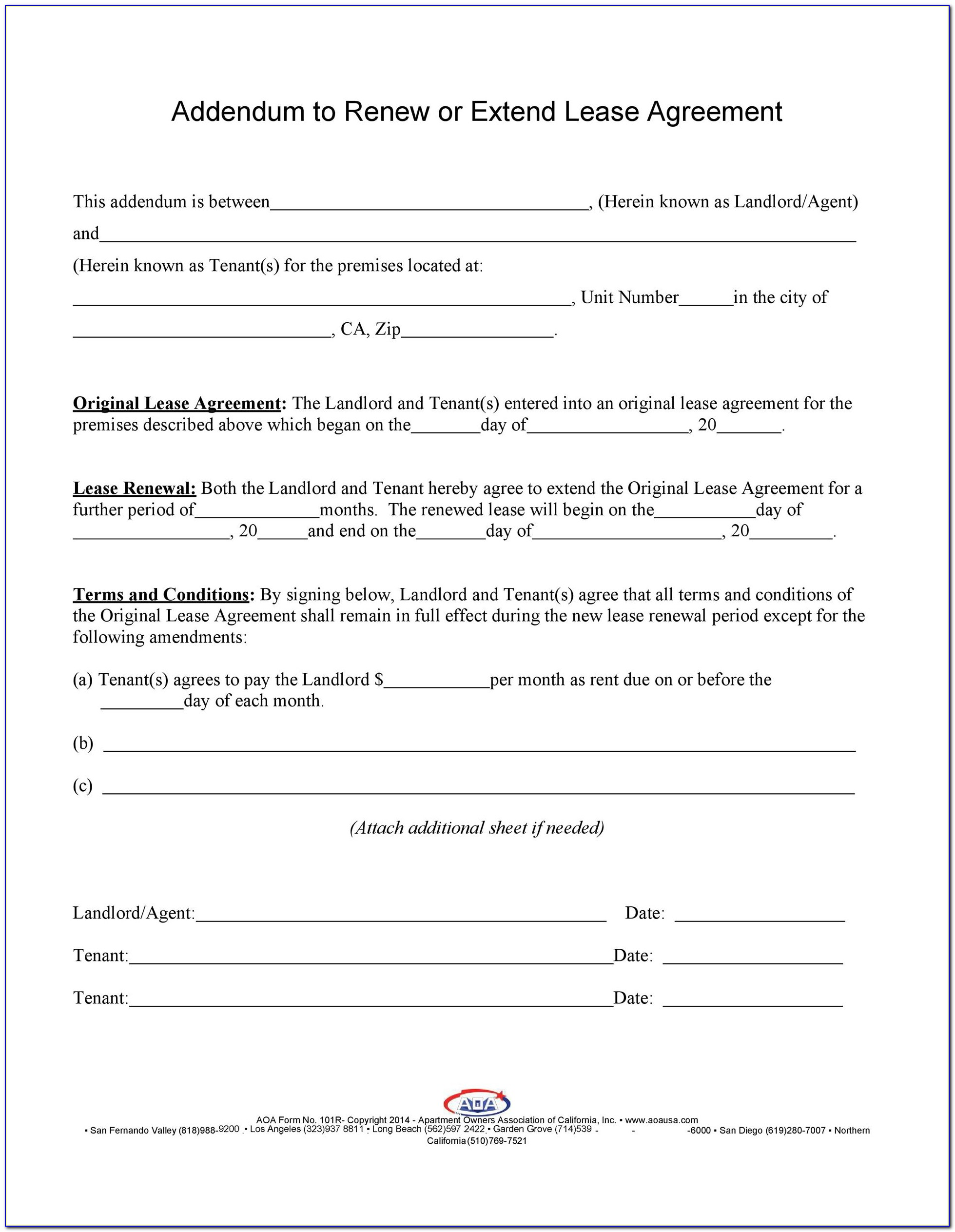 Florida Lease Renewal Agreement Form