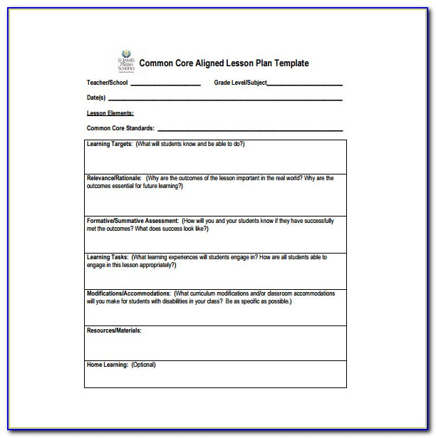 Formal Observation Lesson Plan Template