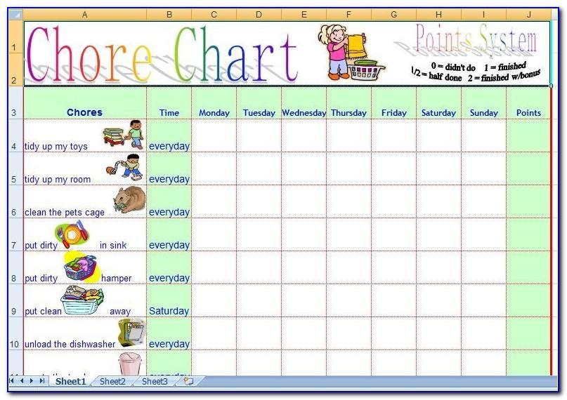 Free Children's Chore Chart Template