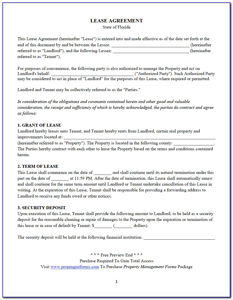 Free Florida Rental Lease Agreement Pdf