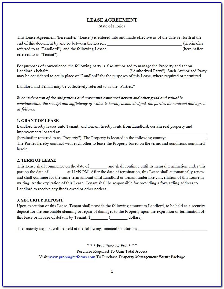 Free Florida Rental Lease Agreement Pdf