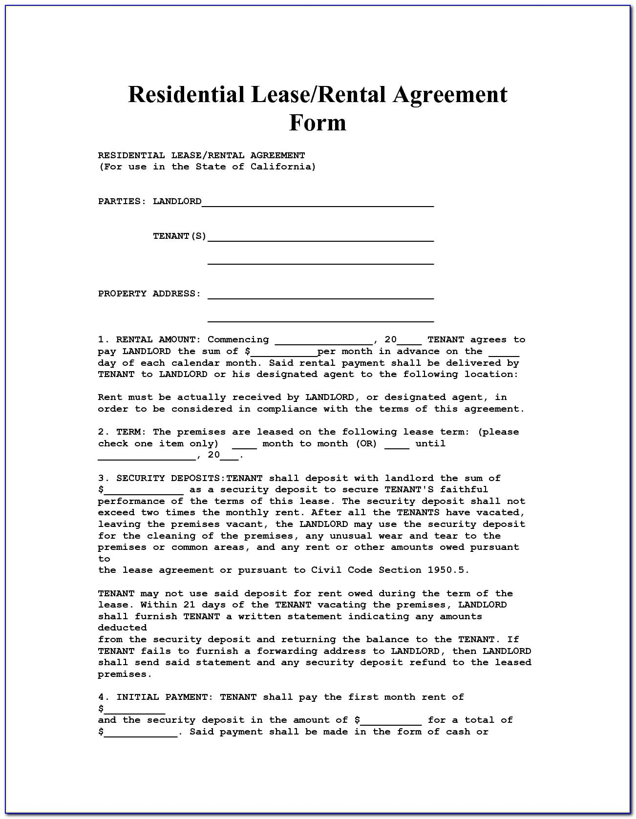 Free Landlord Tenant Rental Agreement Form