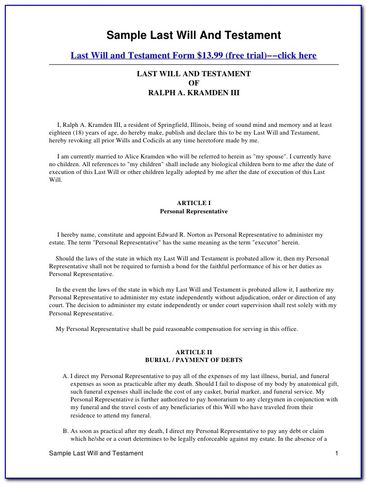 Free Last Will And Testament Blank Forms+texas