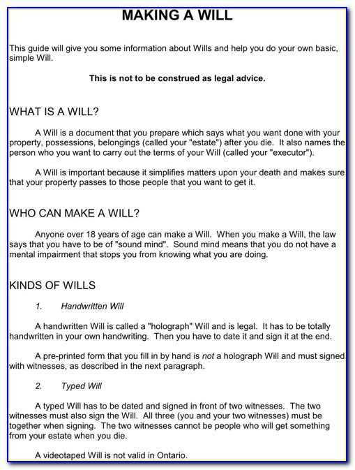 Free Last Will And Testament Template Ontario Canada