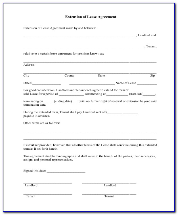 Free Lease Extension Agreement Template