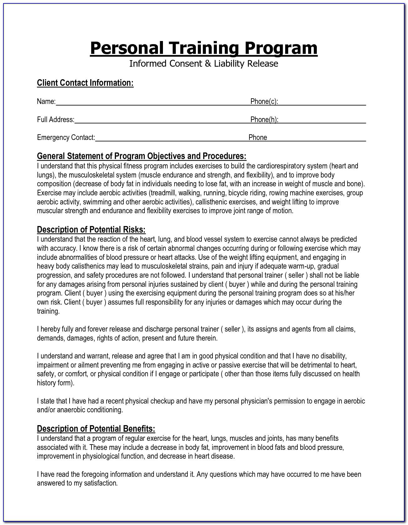 Free Liability Waiver Form Canada