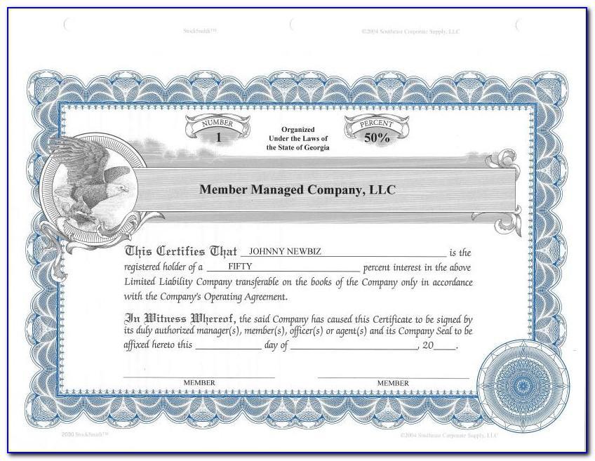 Free Llc Member Certificate Template