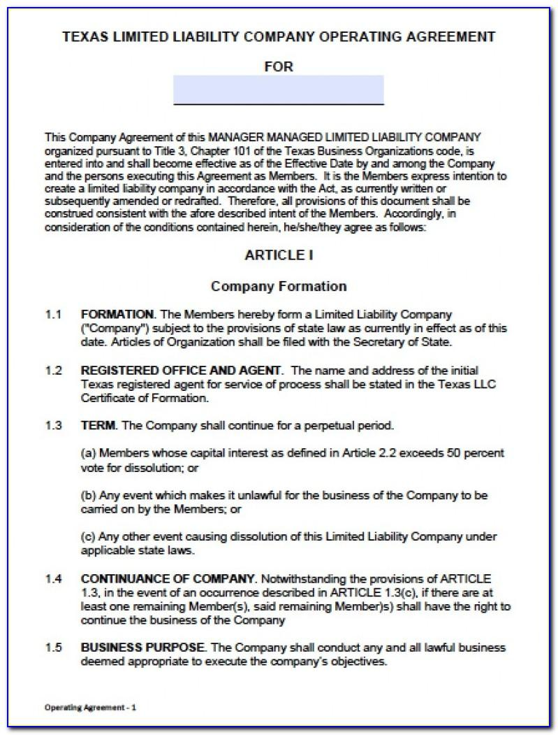 Free Llc Operating Agreement Template Pdf