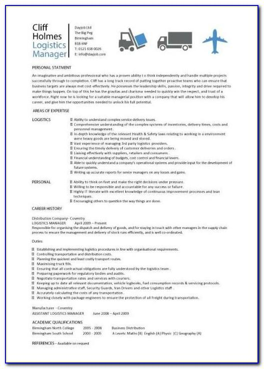Free Logistics Operations Manager Resume Template