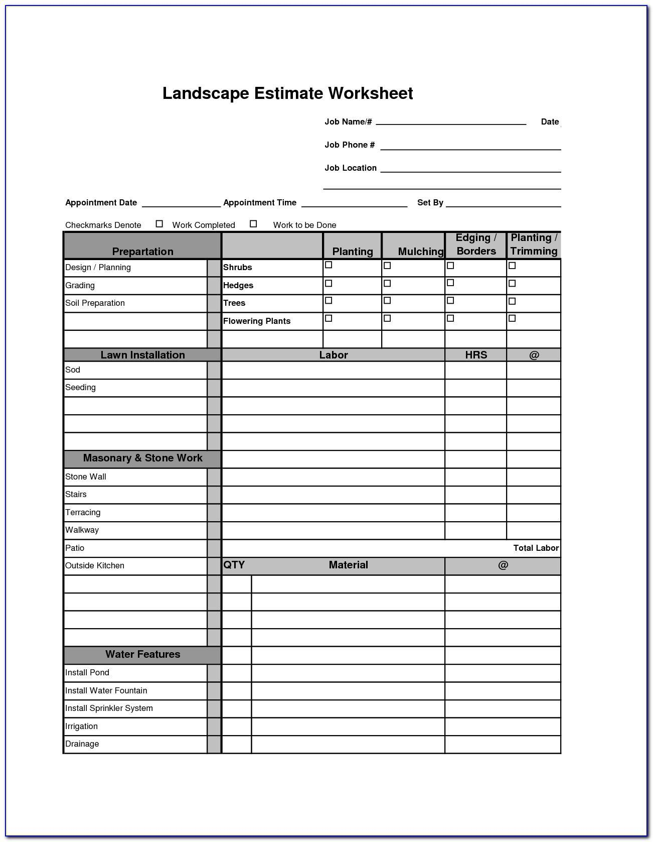 Free Printable Landscape Estimate Forms