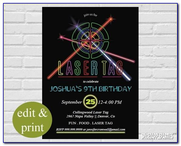 Free Printable Laser Tag Party Invitations