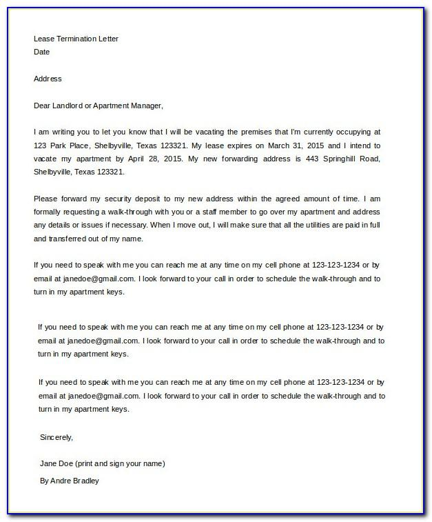 Free Sample Lease Termination Letter From Landlord To Tenant