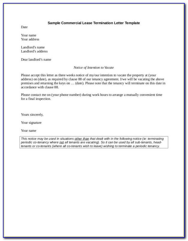 Free Sample Lease Termination Letter To Landlord Commercial