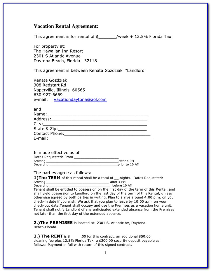 Free Simple Commercial Lease Agreement Florida