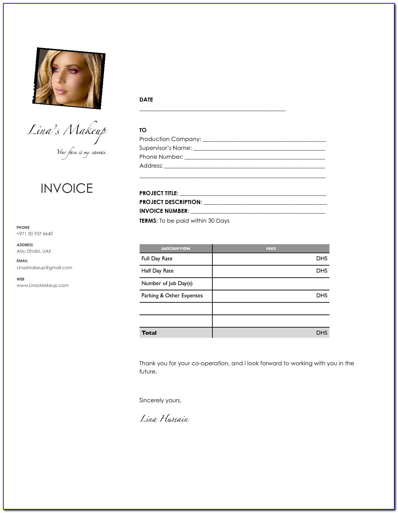Freelance Makeup Artist Invoice Template