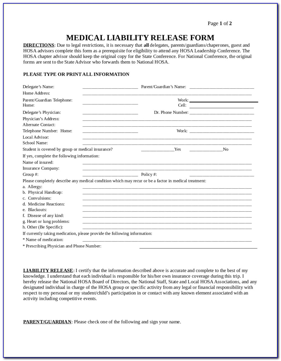 General Liability Release Form Sample