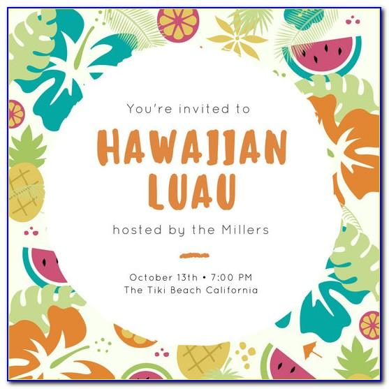 Hawaiian Themed Party Invitation Templates