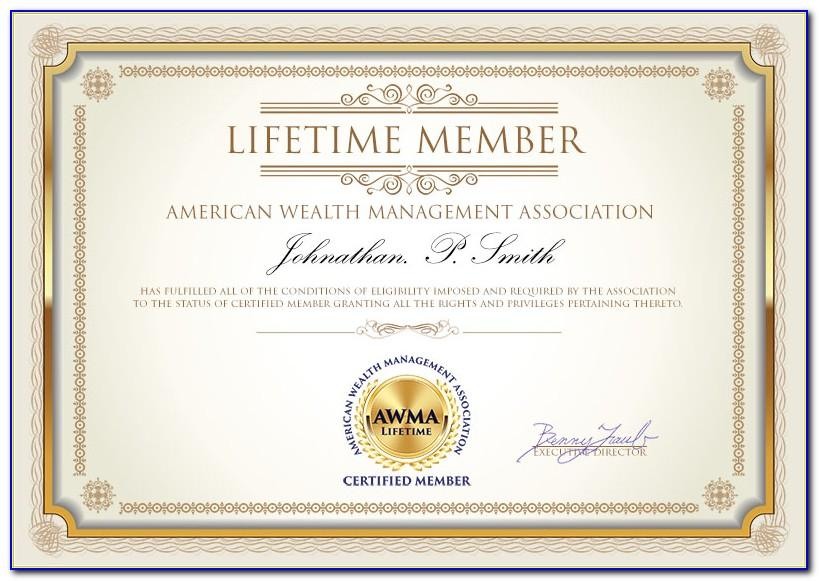 Honorary Life Membership Certificate Template