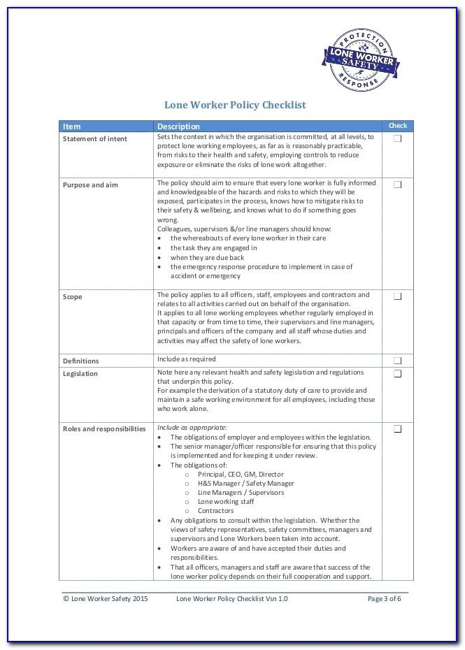 Hse Lone Worker Risk Assessment Example