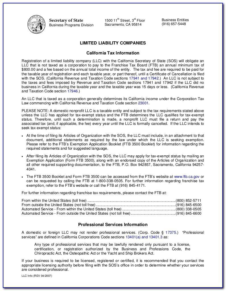 Illinois Llc Articles Of Organization Example