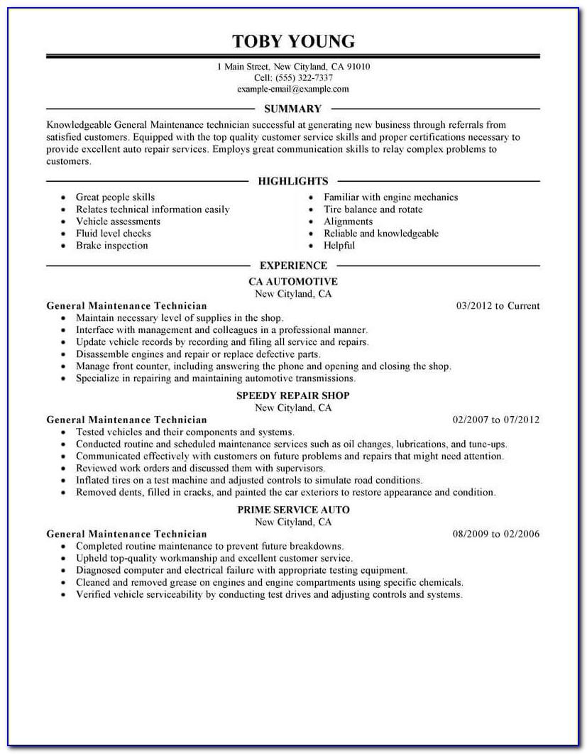 Industrial Maintenance Mechanic Resume Template