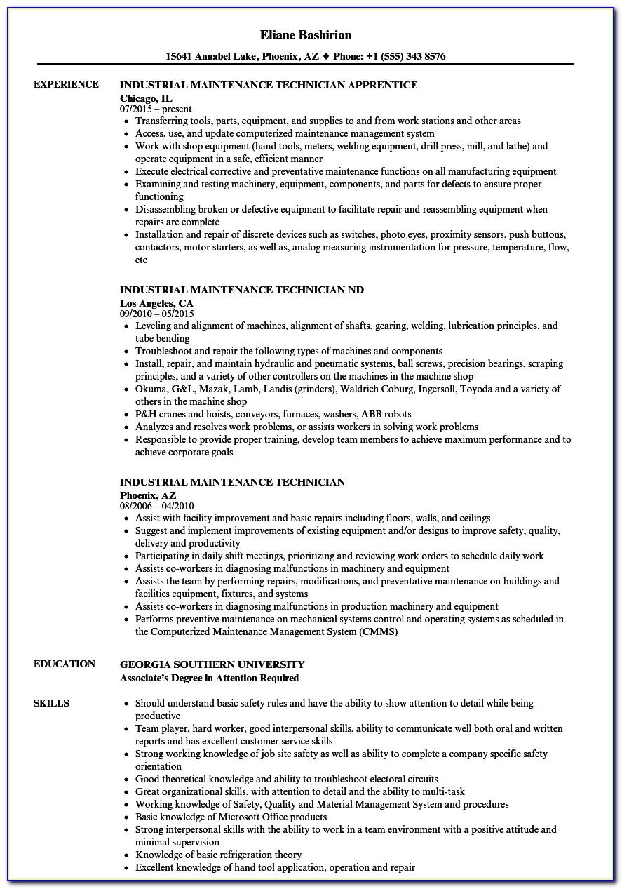 Industrial Maintenance Technician Resume Template