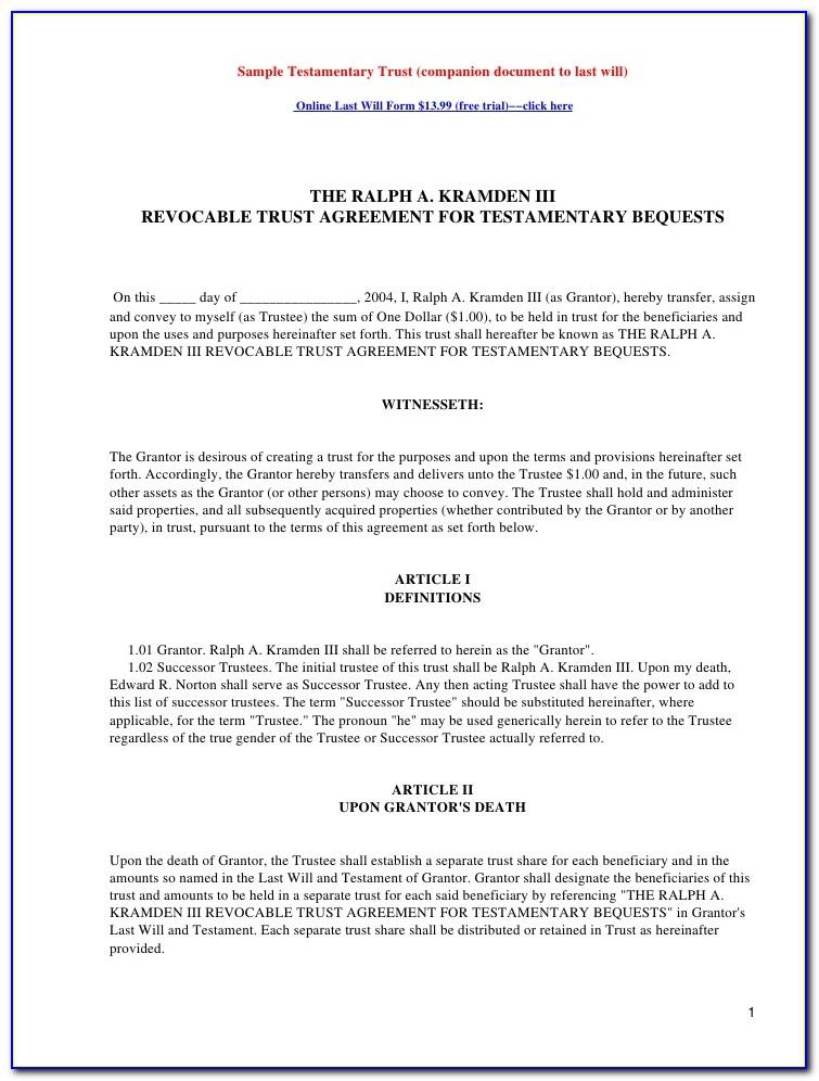 Irrevocable Living Trust Agreement Form